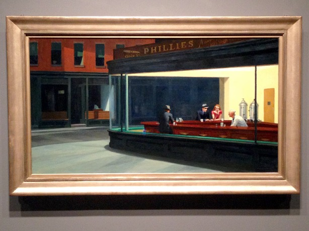 Edward Hopper (1882–1967), Nighthawks, 1942. Oil on canvas, 33 1/8 × 60 in. (84.1 × 152.4 cm). The Art Institute of Chicago; Friends of American Art Collection 1942.51. Photography © The Art Institute of Chicago