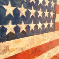 Jasper Johns, Flag, 1954-55, Detail