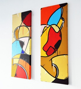 Opulence - Diptych. Acrylic on canvas. Size of one panel: 79.5 x 30 cm © Clarck