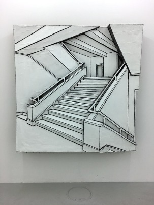 "Martin Spengler - ""Treppen"", 2016, Wellpappenrelief, 152x152x24 cm"